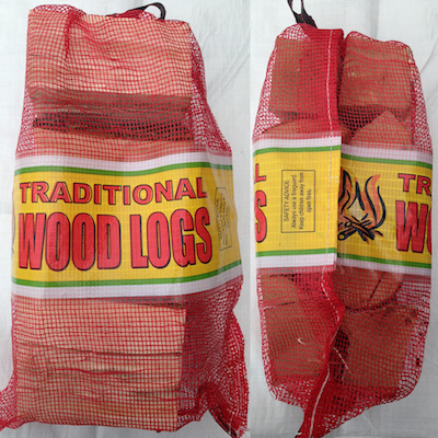 Shop netted bags of seasoned hardwood logs